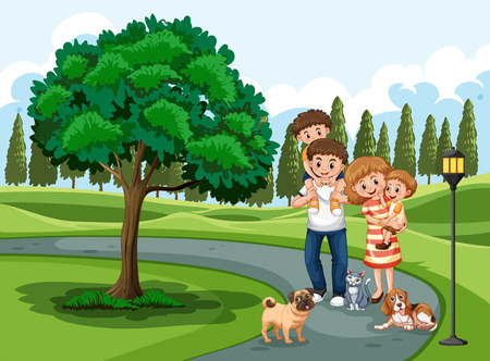 A family visiting park on holiday illustration Stock Illustratie