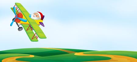 A santa riding airplane template illustration  イラスト・ベクター素材