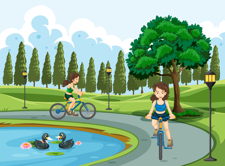 Young girls riding bicycle illustration