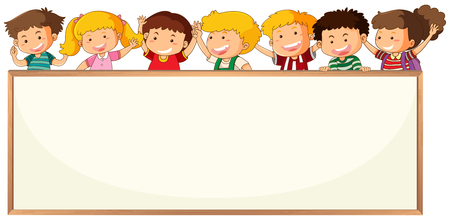 Children on blank frame template illustration