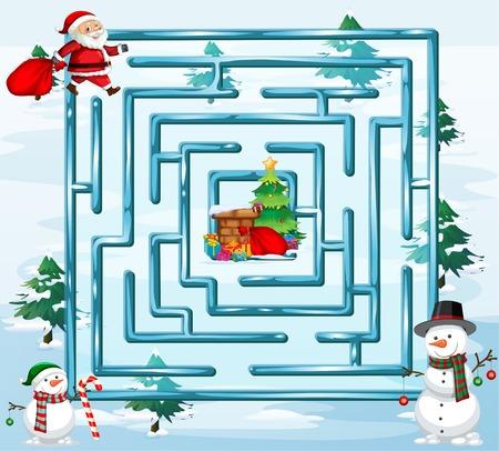 Christmas maze game template illustration