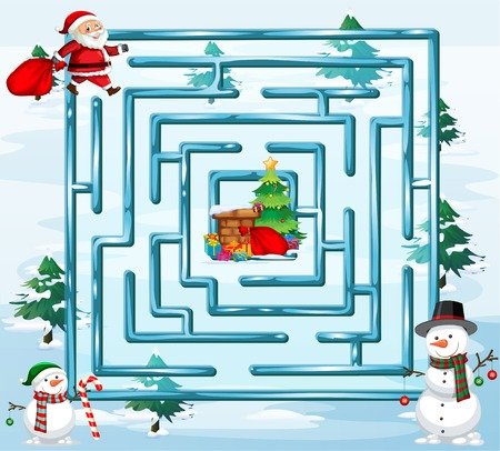 Christmas maze game template illustration