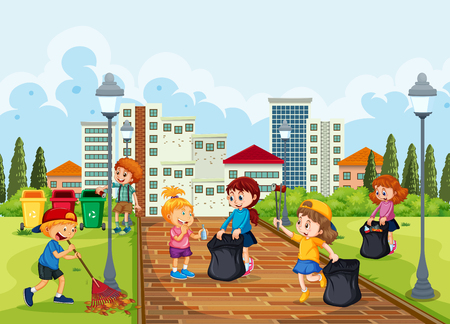 Volunteer children cleaning park illustration