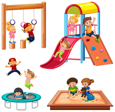 Set of children playing playground equipment illustration