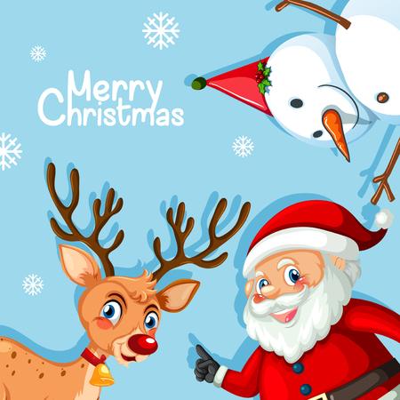 Merry christmas blue template illustration