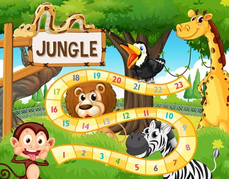 Ilustracja szablonu gry planszowej zwierząt dżungli Ilustracje wektorowe