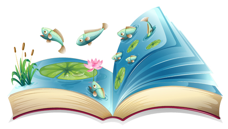 Fish in the pond open book illustration