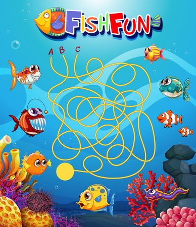 underwater fish maxe game template illustration