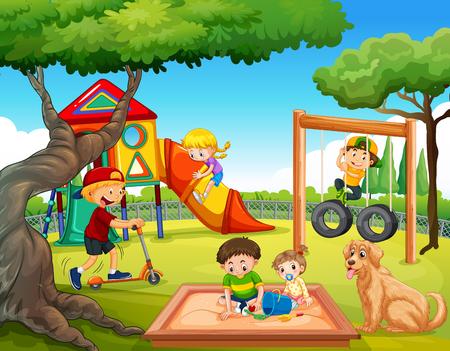 Bambini che giocano all'illustrazione del parco giochi
