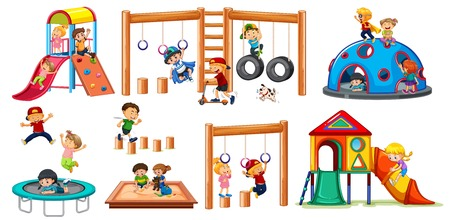 Children on playground equipment  illustration Illustration