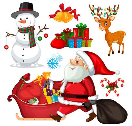 Set christmas objects and characters illustration Ilustração