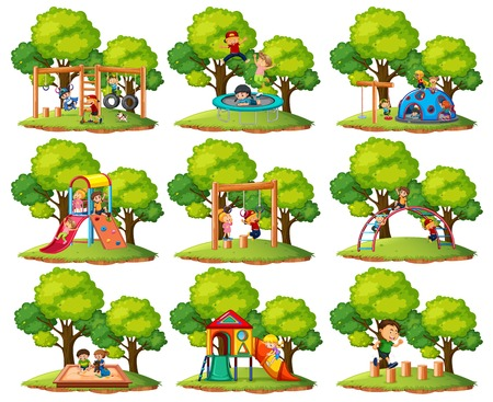 Set of playground park scenes illustration