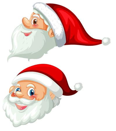 Front and side of santa head illustration