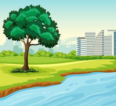 Un parque en la ilustración de la escena de la ciudad.