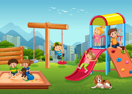 Children playing at playground illustration Ilustrace