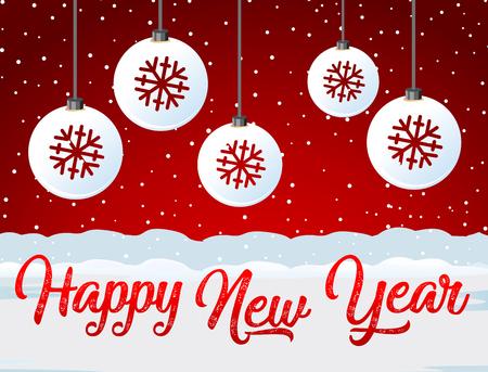 Happy new year red card illustration Ilustração