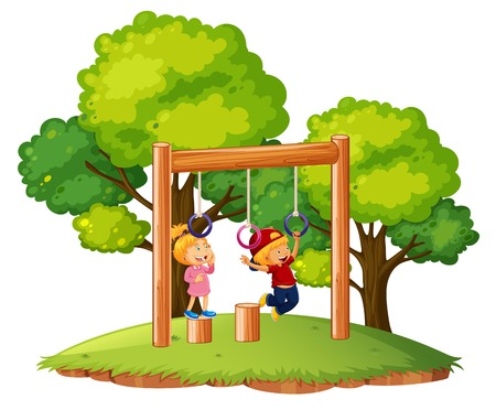 Children playing on monkey bars illustration Illustration
