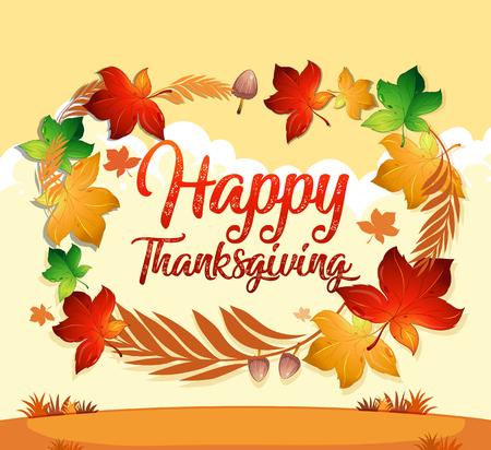 Szczęśliwa ilustracja szablonu karty dziękczynienia