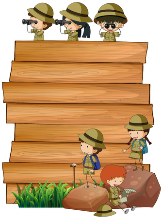 Scouts on the wooden board illustration