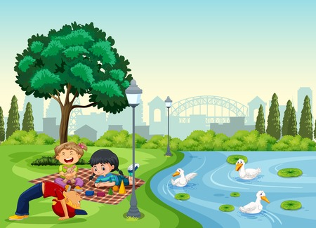 Children chilling at the park illustration