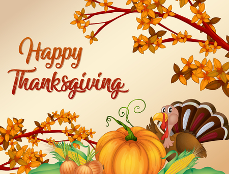 Happy thanksgiving card template illustration