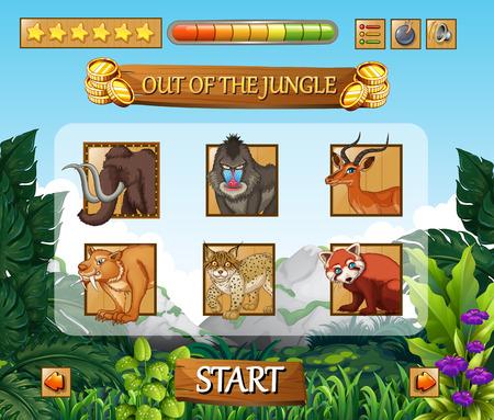 Wild animals jungle game template illustration