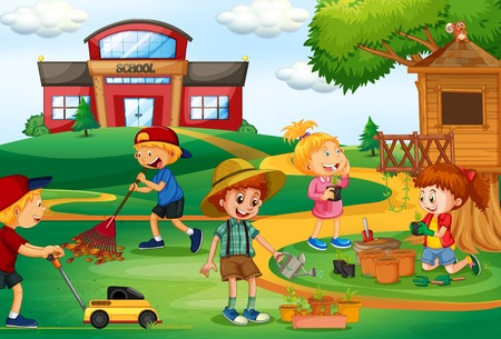 Group of children gardening illustration