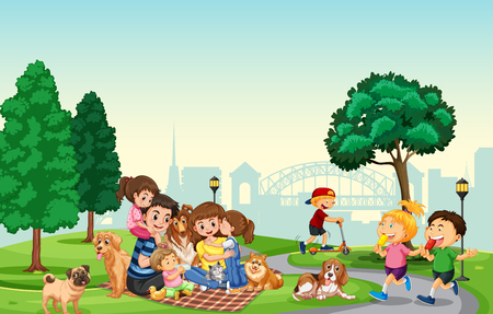 People spend holiday at the park illustration