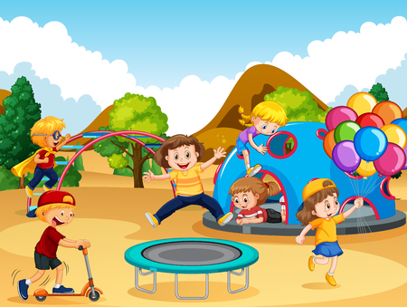 Happy children at playground illustration Illustration