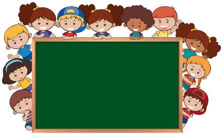 Children next to the chalkboard template illustration Ilustracja