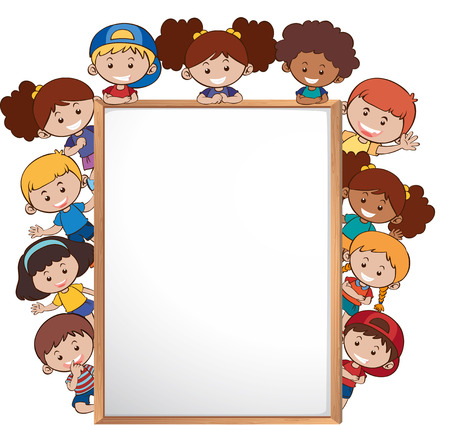 International children and whiteboard template illustration