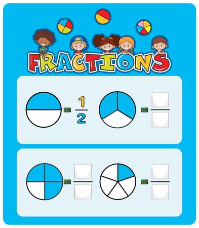 Una ilustración de hoja de cálculo de fracciones matemáticas