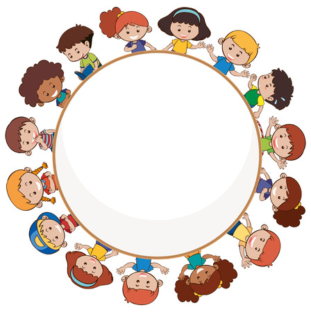 International children with blank template illustration