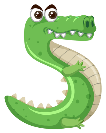 Cartoon green crocodile number five illustration