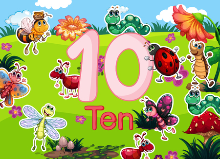 Ten diffrent insect template illustration