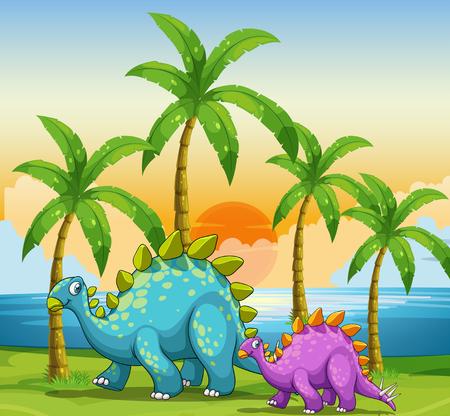 Dinosaurs at sunset at the beach illustration Vektorové ilustrace