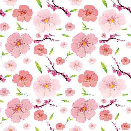 Pink hibiscus and sakura seamless background illustration Vector Illustration