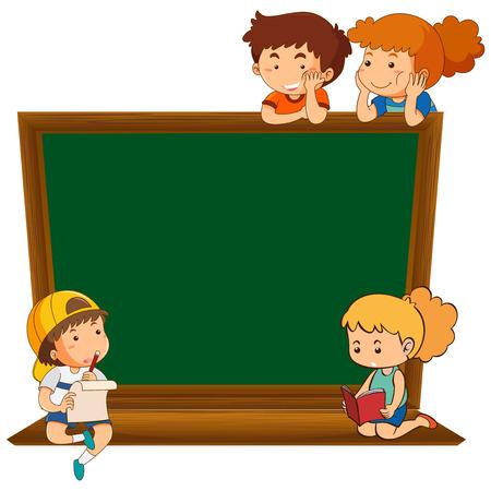 Children on blank chalkboard illustration