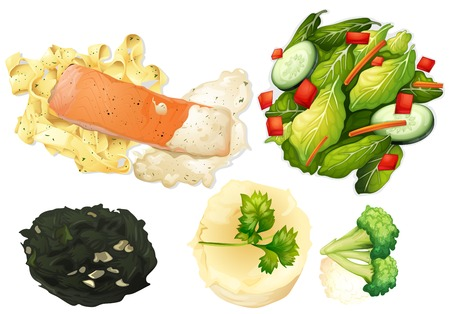 Set of healthy food illustration Illustration