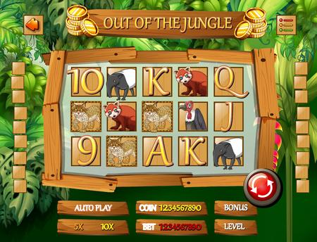 Ilustración de plantilla de juego de animales de la selva