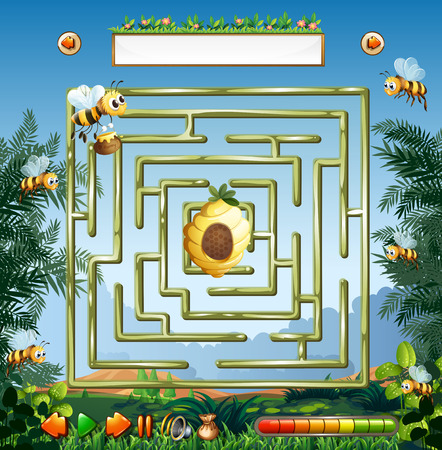 Bees and beehive maze game illustration Illustration