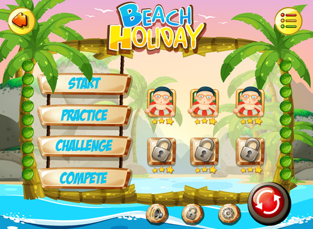 Beach holiday game template illustration Vettoriali