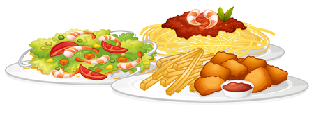Set of food on white background illustration