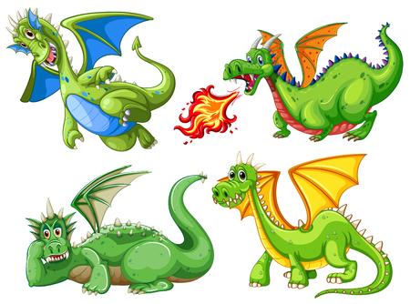 Set of green dragon illustration