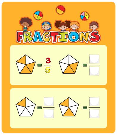 Ilustración de plantilla de hoja de cálculo de coincidencia de matemáticas