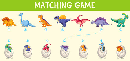 Matching dinosaur number worksheet illustration