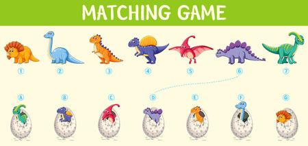 Matching dinosaur number worksheet illustration