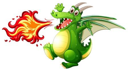 Una ilustración de fuego de dragón verde Ilustración de vector