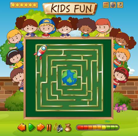 Kid maze game template illustration Illustration