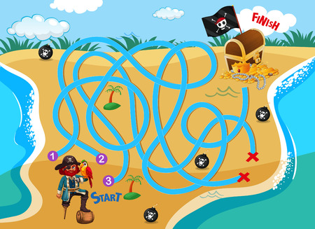 Pirate beach maze puzzle game illustration